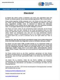 Elternbrief zum Thema Bewaffnung von Kindern und Jugendlichen - PDF
